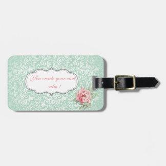 Chic Elegant  Damask, Roses,Motivational Message Bag Tag