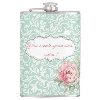 Chic Elegant  Damask, Roses,Motivational Message Flasks