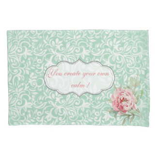 Chic Elegant  Damask, Roses,Motivational Message Pillowcase