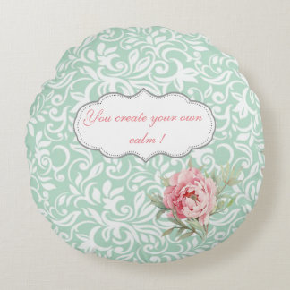 Chic Elegant  Damask, Roses,Motivational Message Round Pillow