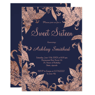 Chic elegant faux rose gold floral blue Sweet 16 Card