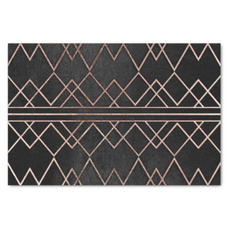 Chic & Elegant Faux Rose Gold Geometric Triangles Tissue Paper