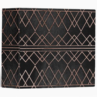 Chic & Elegant Faux Rose Gold Geometric Triangles Vinyl Binder