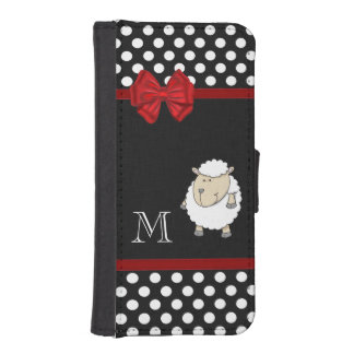 Chic elegant funny sheep polka dots monogram iPhone SE/5/5s wallet case