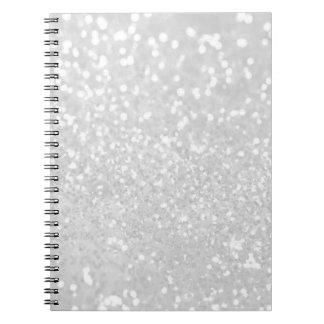 chic elegant glamour White Faux Glitter Spiral Notebook