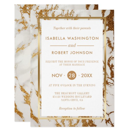 Chic Elegant Gold & White Marble Modern Wedding Card