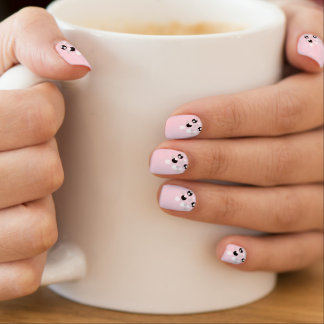 Chic elegant light pink black white polka dot minx nail art