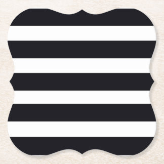 Chic Elegant Modern Black And White Stripes Paper Coaster