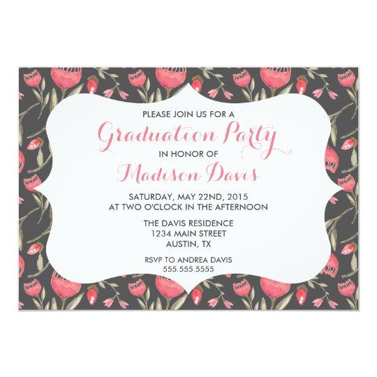 Chic Elegant Pink Floral Graduation Invitations