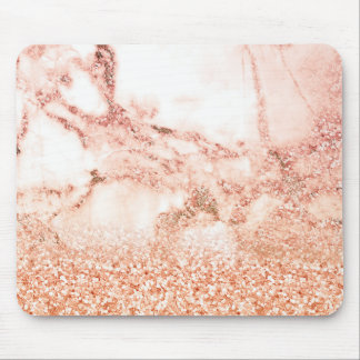 Chic Elegant Rose Gold Ombre Glitter Marble Mouse Pad