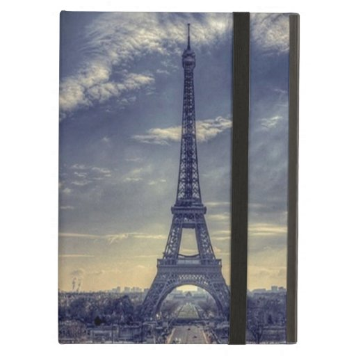 Chic Elegant Vintage Blue Eiffel Tower Paris iPad Air Cases
