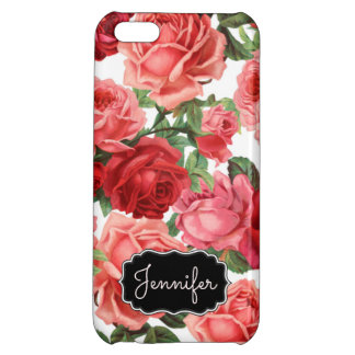 Chic Elegant Vintage Pink Red roses floral name Case For iPhone 5C