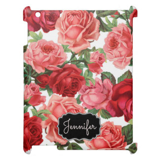 Chic Elegant Vintage Pink Red roses floral name Case For The iPad