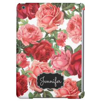 Chic Elegant Vintage Pink Red roses floral name Cover For iPad Air