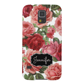 Chic Elegant Vintage Pink Red roses floral name Galaxy S5 Covers