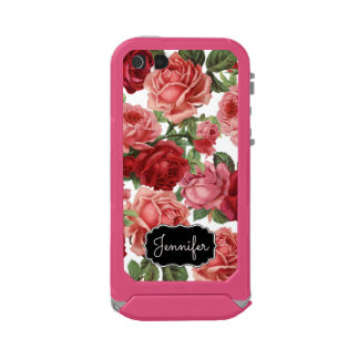 Chic Elegant Vintage Pink Red roses floral name Incipio ATLAS ID™ iPhone 5 Case