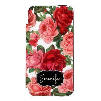 Chic Elegant Vintage Pink Red roses floral name Incipio Watson™ iPhone 5 Wallet Case