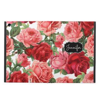 Chic Elegant Vintage Pink, Red, roses floral name iPad Air Case