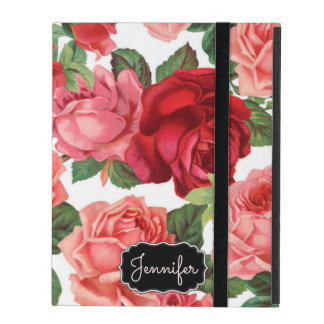 Chic Elegant Vintage Pink Red roses floral name iPad Cover