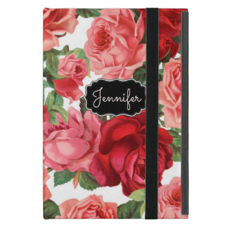 Chic Elegant Vintage Pink, Red, roses floral name iPad Mini Case