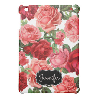 Chic Elegant Vintage Pink Red roses floral name iPad Mini Cover
