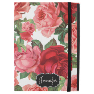 "Chic Elegant Vintage Pink Red roses floral name iPad Pro 12.9"" Case"