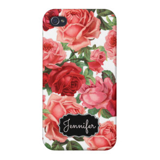 Chic Elegant Vintage Pink Red roses floral name iPhone 4/4S Cases
