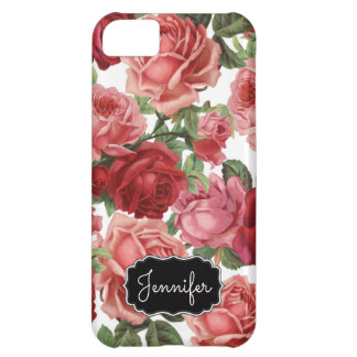 Chic Elegant Vintage Pink Red roses floral name iPhone 5C Cover