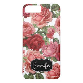 Chic Elegant Vintage Pink, Red, roses floral name iPhone 8 Plus/7 Plus Case