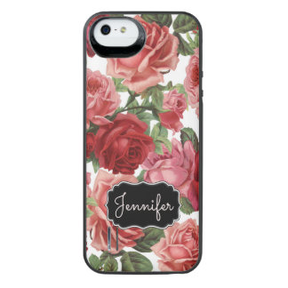 Chic Elegant Vintage Pink Red roses floral name iPhone SE/5/5s Battery Case