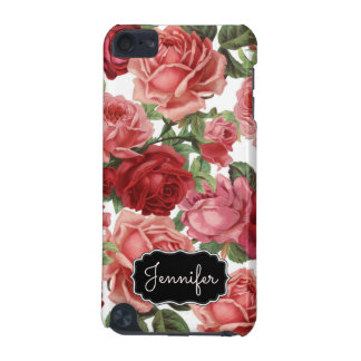 Chic Elegant Vintage Pink, Red, roses floral name iPod Touch (5th Generation) Cases