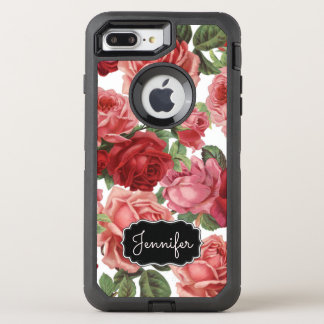 Chic Elegant Vintage Pink, Red, roses floral name OtterBox Defender iPhone 8 Plus/7 Plus Case