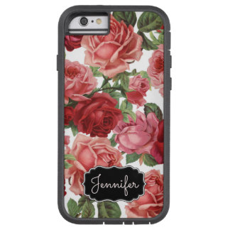 Chic Elegant Vintage Pink, Red, roses floral name Tough Xtreme iPhone 6 Case