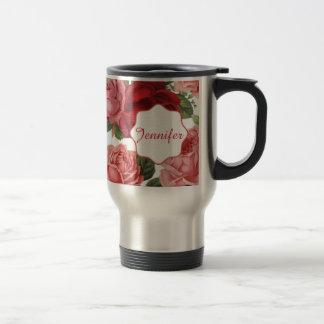Chic Elegant Vintage Pink Red roses floral name Travel Mug