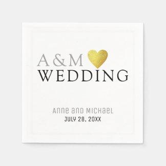 chic elegant wedding reception party monogrammed paper napkins