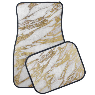 Chic Elegant White and Gold Marble Pattern Car Mat