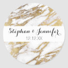Chic Elegant White and Gold Marble Pattern Classic Round Sticker