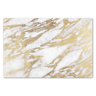 Chic Elegant White and Gold Marble Pattern Tissue Paper