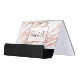 Monogram business card holders zazzle chic elegant white and rose gold marble monogram desk business card holder reheart Images