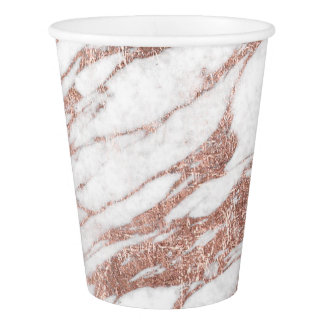 Chic Elegant White and Rose Gold Marble Pattern Paper Cup