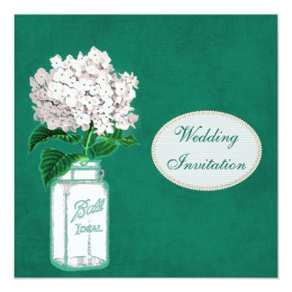 "Chic Emerald Green Mason Jar & Hydrangea Wedding 5.25"" Square Invitation Card"