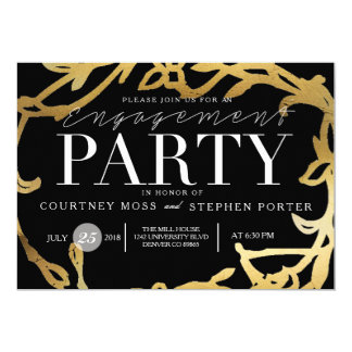 Chic Engagement Party | Gold Floral Card