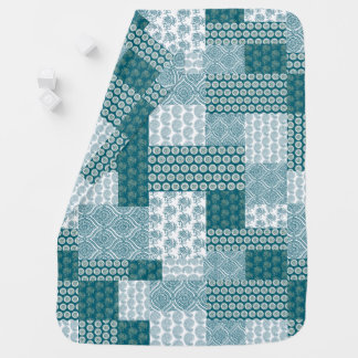 Chic Ethnic Faux Patchwork Pattern, Teal and White Baby Blanket
