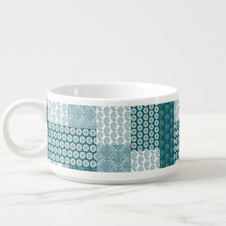 Chic Ethnic Faux Patchwork Pattern, Teal and White Bowl