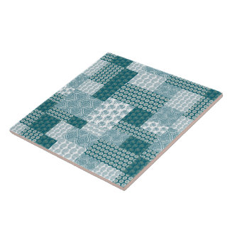 Chic Ethnic Faux Patchwork Pattern, Teal and White Ceramic Tile