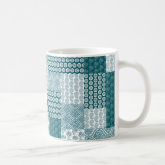 Chic Ethnic Faux Patchwork Pattern, Teal and White Coffee Mug