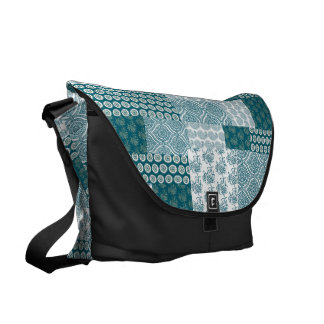 Chic Ethnic Faux Patchwork Pattern, Teal and White Courier Bag