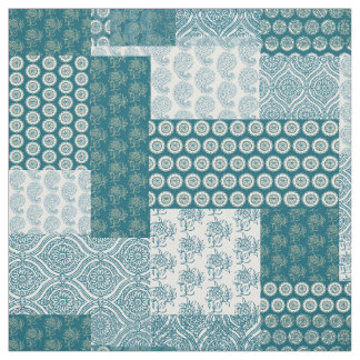 Chic Ethnic Faux Patchwork Pattern, Teal and White Fabric