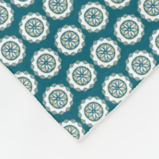 Chic Ethnic Faux Patchwork Pattern, Teal and White Fleece Blanket