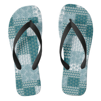 Chic Ethnic Faux Patchwork Pattern, Teal and White Flip Flops